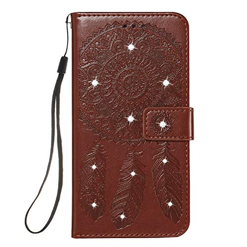 GIMTON Galaxy S10 Hülle, Brieftasche Klapphülle mit Kartenfach und Magnet Verschluss, Stoßfest Kratzfestes PU Leder Schutzhülle für Samsung Galaxy S10, Braun