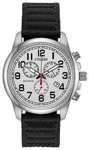 Citizen Military Eco-Drive Chronograph AT0200-13A Mens Black Nylon Band Silver Quartz Dial Watch