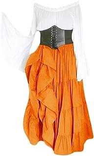 RISTHY Vestidos de Fiesta Gótico Mujeres Vestidos Medieval Vestidos Cosplay Manga Trompeta Retro Cuello Cuadrado Renacenti...