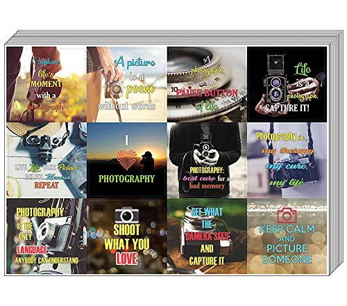 Quote Creanoso Fotografie Gezegden Stickers (10 vel) - Totaal 120 stuks (10 x 12st) Individuele Klein formaat 2,1 x 2 inch, unieke ontwerpen DIY Decoratie Art Sticker voor kinderen