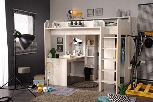 *expendio Hochbett Halmstad 1b Esche 206x189x138 cm Bett mit Schreibtisch und Kleiderschrank Kinderbett Jugendbett*