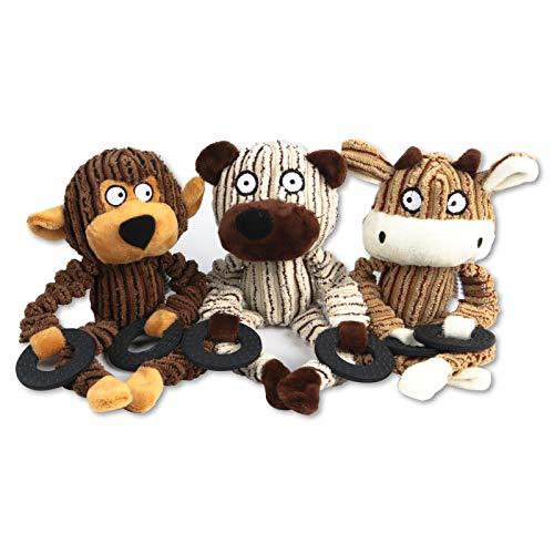 FENRIR 3 Paquete de Juguetes con Sonido para Perros,Masticar Cachorros Juego Interactivo Dientes Juguetesin Relleno Juguete de Peluche para Perros con chirriador Juguete