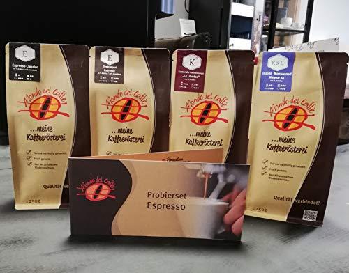 Probierset Espresso 4 Packungen a 250 gr. Espresso ganze Bohne der Rösterei Mondo del Caffè (eine der besten Kaffeeröstereien Deutschlands, Feinschmecker 2018) im Geschenkkarton mit Begleitheft