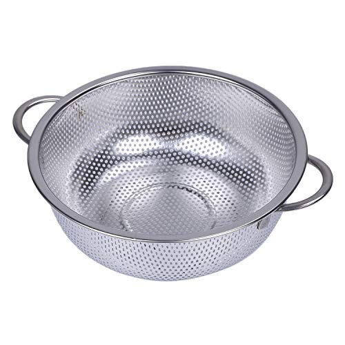 Binchil Steel Colanders With Handle,Colander Perforated Strainer For Kitchen Pasta/Vegetable/Rice/Fruit/Food-M