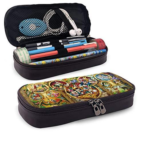 Mickey Mouse Tinker Bell und Peter Pan Federmäppchen für Erwachsene und Studenten, Buggy-Tasche, Reißverschluss, Leder, Stiftetui, Make-up-Tasche für Bleistifte, Stifte, Marker