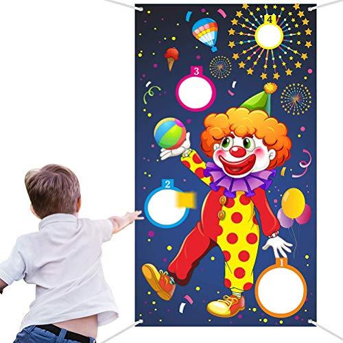 WENTS Werfen Spiele Karneval Wurf Spiel Clown Banner mit 3 Bohnen Säcke Zirkus Bohnen Säcke Wurf Spiel für Karneval Party Aktivitäten Zirkus Lieferungen für Kinder und Erwachsene