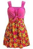 Wantdo Femme Maillots de Bain Une Pièce Imprimé avec Jupette Amincissant Grande Taille Robe de Plage Taille Haute Rose 44-46