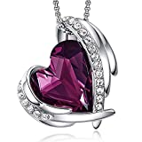 CDE White Rose Gold Necklaces for Valentines Day Jewelry Gifts for women, Heart Pendants Embellished with Crystals Birthstone Birthday Gift(Purple Rhodium Plated)