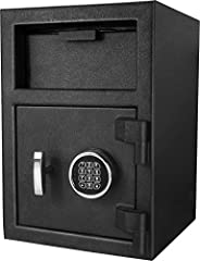 【Security Drop Safe】Our Digital Keypad Depository Safes protect cash, checks, mails and other small valuables against robbery or internal theft by allowing deposits to be made into the safe while the door to the safe is locked 【Solid Design】A solid s...