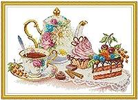 クロスステッチ刺繍キット 図柄印刷 初心者 ホームの装飾 刺繍糸 針 布 11CT Cross Stitch ホームの装飾 コーヒーとケーキ 40X50CM