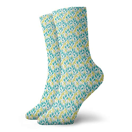 Unisex adult printed sports socks,Abstract Herbal Pattern With Leafy Stems Freshness Of Spring,Men's and Women's street casual sports socks