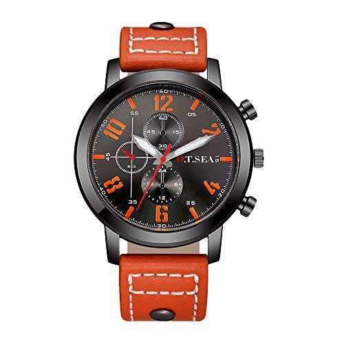 Souarts Herren Armbanduhr Männer Analog Quarzuhr Uhr Schwarz Braun Orange Retro Kunstleder Armband Herrenuhr mit Kleine Deko Zifferblatt