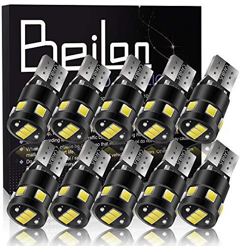 BeiLan T10 Canbus LED-lampen 501 W5W 194 168 9SMD 2835 LED Witlicht Wedge-vervangingslampen Autos Zijlicht Dome-nummer Kofferplaatverlichting DC 12V Pakket van 10