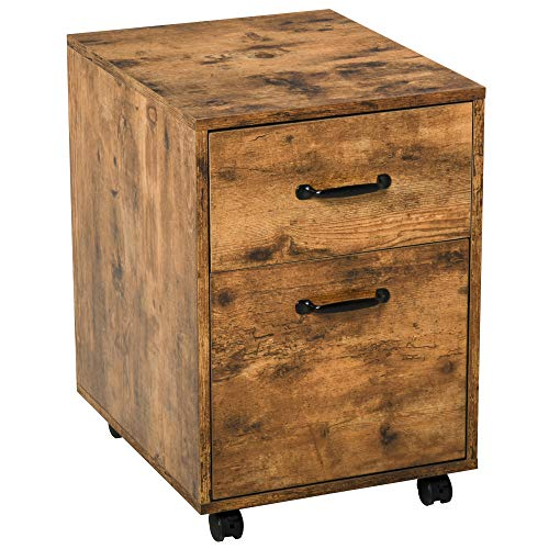 HOMCOM Rolling File Cabinet with 2 Drawers, Hanging File Folder, Home Office Under Desk Mobile Filing Organizer