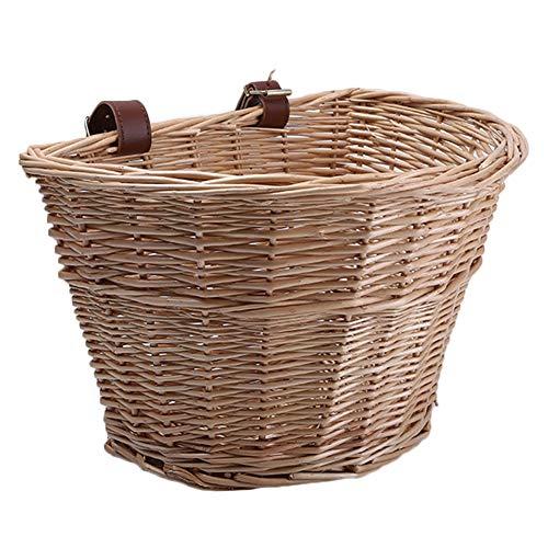 HangzhoushiJacob Elsie - Cesta de mimbre para bicicleta (correa ajustable, color madera), color marrón