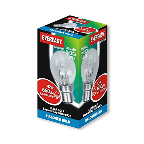 Eve Halogeen G45 Golf lampen energiebesparend 42 Watt 60 Watt Bc bajonetfitting (B22)
