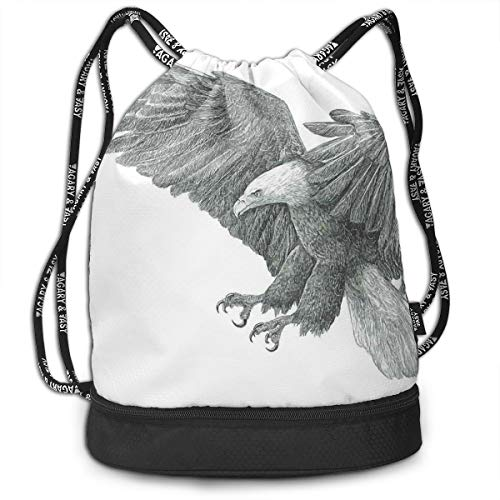 DDHHFJ Multifunctional Drawstring Backpack for Men & Women, Black and White Pencil Drawing Style Eagle with Detailed Features Wild Nature,Travel Bag Sports Tote Sack with Wet & Dry Compartments
