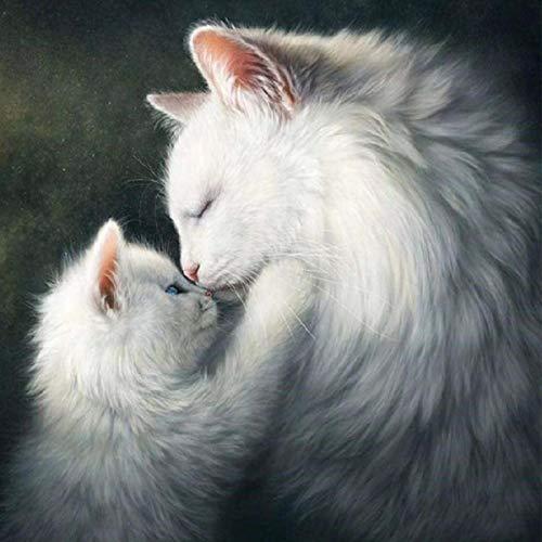 MXJSUA Kit per pittura a mosaico 5D fai da te con numeri, per adulti gatti bianchi, per lavori...