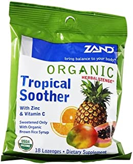 Zand - Herbalozenge Organic Tropical Soother with Zinc & Vitamin C Tropical Fruit Flavor - 18 Lozenges.pack of 3