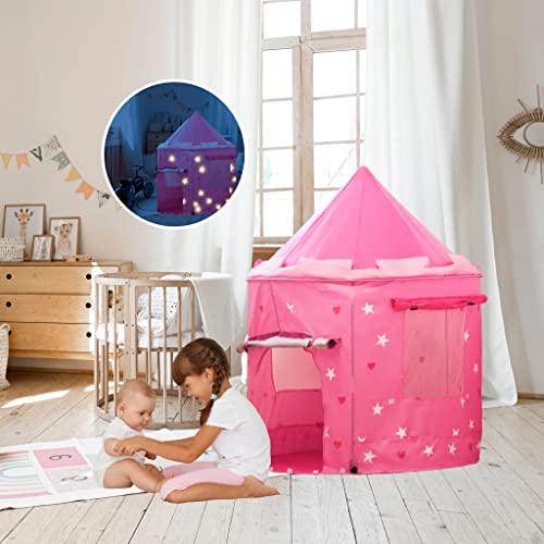 Kiddus Tienda Casa Carpa Campaña de Tela Lona para Niñ@s. Castillo Princesa, Pop UP Plegable para Jugar Juguete Infantil (Rosa. Efecto Fluorescente)