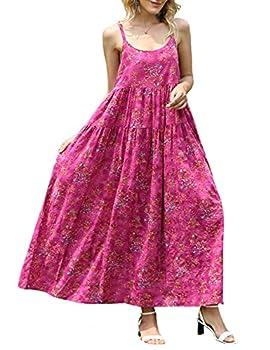 YESNO Women Casual Loose Bohemian Floral Print Dresses Spaghetti Strap Long Maxi Summer Beach Swing Dress 4XL E75 CR26