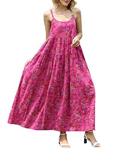 YESNO Women Casual Loose Bohemian Floral Print Dresses Spaghetti Strap Long Maxi Summer Beach Swing Dress XS-5X L E75 CR26