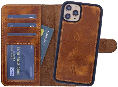 Burkley Handyhülle für iPhone 11 Pro Leder-Hülle mit Abnehmbarer Schutz-Hülle kompatibel mit Apple iPhone 11 Pro Case Cover - TÜV geprüfter RFID Schutz (Antik Sattelbraun)
