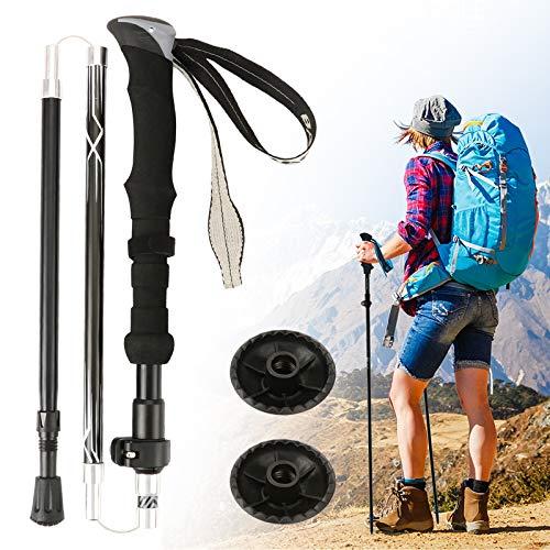 Idefair Bastones de trekking, bastones de senderismo plegables Bastones de senderismo de aluminio para caminar Bastones de senderismo ligeros Bastón de senderismo con sistema antishot (Negro, 2 Trozo)
