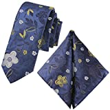 GASSANI Juego de 2 corbatas vintage con flores, 6 colores satinados, 6 cm, corbata estrecha Color azul de noche y gris claro, mostaza dorada. X-Small