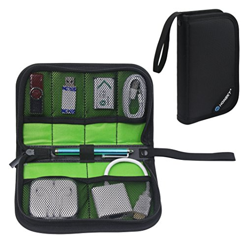 Honsky Zipper Mesh Shockproof USB Flash Drive Organizer, Cable Management Bag, Travel Carrying Case Holder for Hard Drive, Thumb Drive, Pen Drive, Gadget Cord Accessories Packing Space Storage, Black