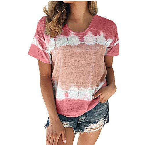 x8jdieu3 Camiseta Suelta con Cuello Redondo Y Manga Corta Estampada De Verano Tops Mujer