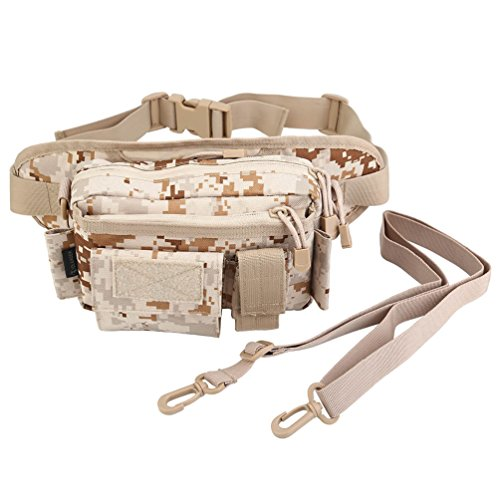 OLEADER Outdoor Tactical Waist Pack Nylon Fishing Tackle Fanny Bag Shoulder Carry Hip Pack Bracelet Gear Bag pour la Chasse Escalade Randonnée Camping