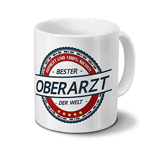 printplanet Tasse mit Beruf Oberarzt - Motiv Berufe - Kaffeebecher, Mug, Becher, Kaffeetasse - Farbe Weiß