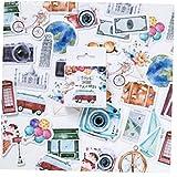 Lankater 46pcs DIY Vinilo Decorativo Viajes, Viajes De Caja del Ordenador Portátil Planificadores Calendarios Álbum De Recortes Maleta Cuadernos Diario