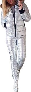 WSPLYSPJY Women's 2 Piece Metallic Snowsuit Training Set Hooded Jacket Pants Set