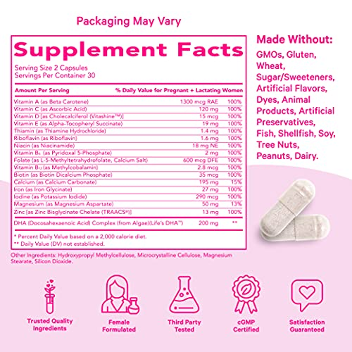 Pink Stork Total Prenatal + DHA, Doctor Recommended Nutrition Support for Before, During, After Pregnancy, Contains Folate, Zinc, Iron & Essential Nutrients, Vegetarian, 60 Small Capsules