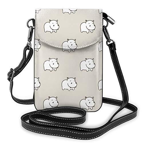 XCNGG bolso del teléfono Womens Small Crossbody Cellphone Purse Wallet with Adjustable Shoulder Strap Roomy Baby Hippo Hippopotamus Shoulder Bags