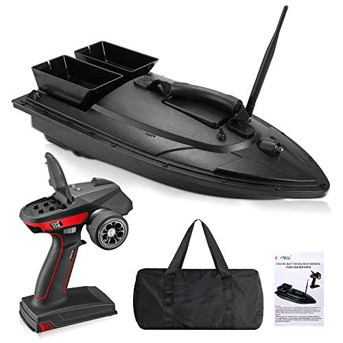 Fishing Bait Boat, Crtkoiwa Remote Control Fish Finder 2.2kg Feed, Delivery Loading 500m Remote Control, RC Boat 2.5GHz High Speed RC Fishing Boat Electric Racing Boat with Self-righ (Double Silo)