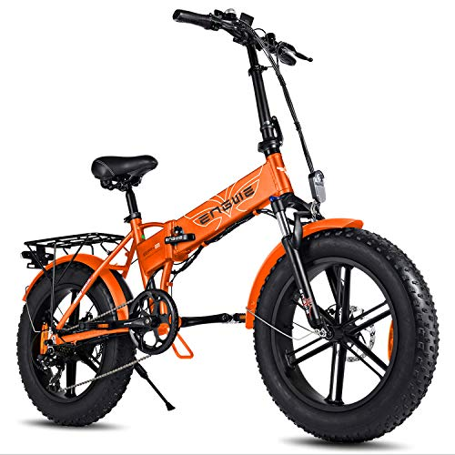 ENGWE-500W 48V 20-inch Fat Tire Folding Electric Bicycle/Commuter Bicycle/Mountain Beach Snow Bike, 7-Speed Shimano Gear Power Assist System, with Removable 48V12.5A Lithium Battery (EP-2) (Orange)
