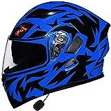 Modułowe Motorbike Hełm Bluetooth,Pełne Kaski Z Kaskami Dot/ECE Zatwierdzony Kask Z Anty-mgłą Podwójne Daszki Wbudowany Radio Zintegrowany System Komunikacji Interkomu,Blue-M=(54~57CM)