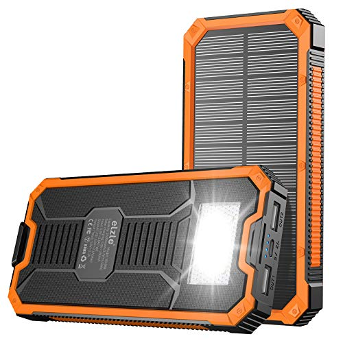 Portable Charger Power Bank 15000mAh, Elzle Solar Charger, Solar Power Bank Battery P ack, high Speed Charging Solar Phone Charger for iPhone, Samsung and More Orange
