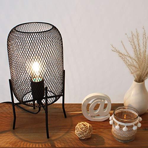 Grundig Tischleuchte aus Metall E27 H29cm Schwarz, Industrie Design, Tischlampe Nachttischlampe Nachttischleuchte Dekolampe