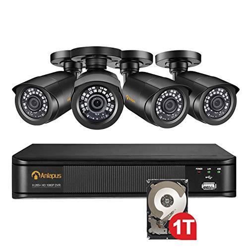 Anlapus 1080P Außen Überwachungskamera Set 8CH H.265+ DVR mit 1TB HDD + 4 Bullet Kamera 20M IR Nachtsicht, PC/Mac-kompatibel