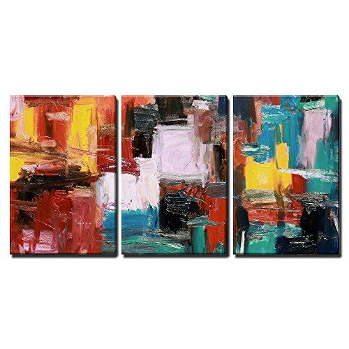 """wall26 - 3 Piece Canvas Wall Art - Abstract Painting - Modern Home Art Stretched and Framed Ready to Hang - 24""""x36""""x3 Panels"""
