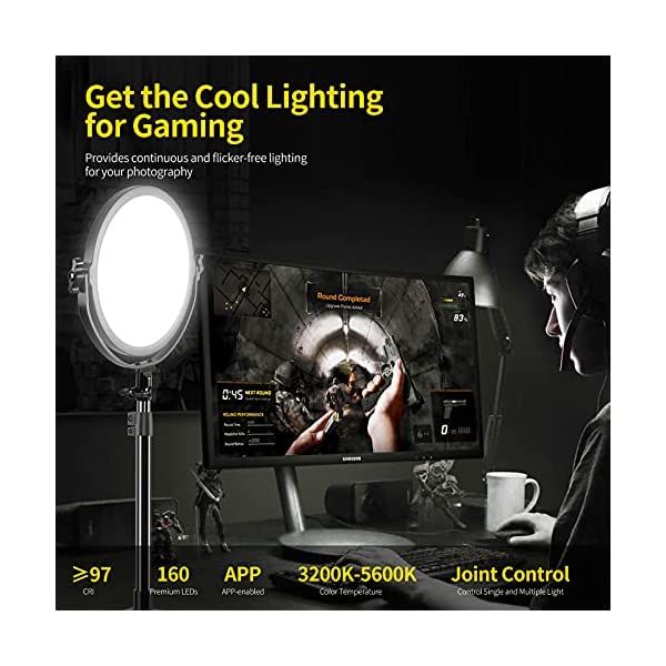 """GVM Desk Mount LED Video Light, 10"""" Round Key Light with Built-in Diffuser and LCD Display, Bi-Color Professional Light…"""