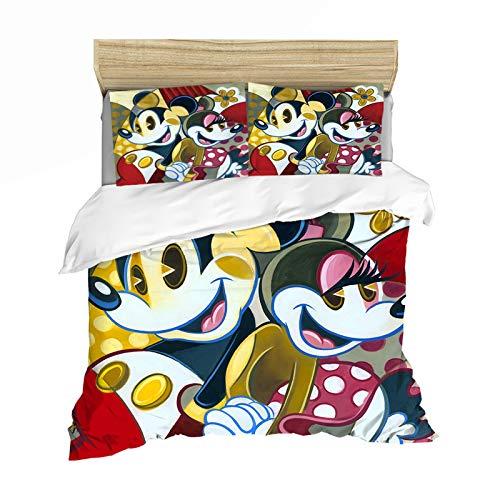 YZDM Minnie & Mickey - Juego de ropa de cama, 100% microfibra, funda de edredón con diseño de Disney con fundas de almohada, hipoalergénicas, para niños y adultos, 140 x 210 cm