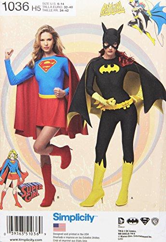 semplicità 1036da Donna Super Girl e Costumi da Batgirl da Cucito, Bianco, H5(6-8-10-12-14)