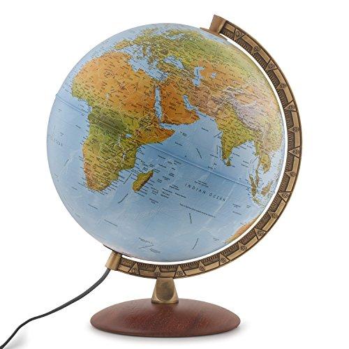 "Waypoint Geographic Light Up Globe - Lugano 12"" Desk Decorative Illuminated Globe with Stand & Blue Ocean, up to Date World Globe"