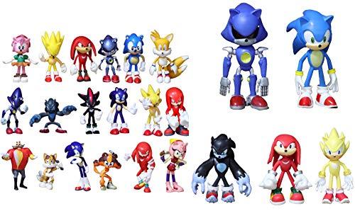 Conjunto figuras Sonic 23 piezas/cada lote de brazo de onda de sonido Amy rose stick tail Werehog PVC muñeca movible nudillos Dr. Eggman anime figuras populares juguetes de muñecas para niños