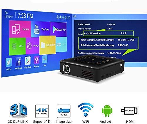 Mini-HD DLP thuisbioscoop-projectorondersteuning 1080P 4K Android-projector met HDMI USB VGA AV 300 '' grote weergave trapezium correctionplusms; 40deg; voor PS4 DVD-speler laptop-games
